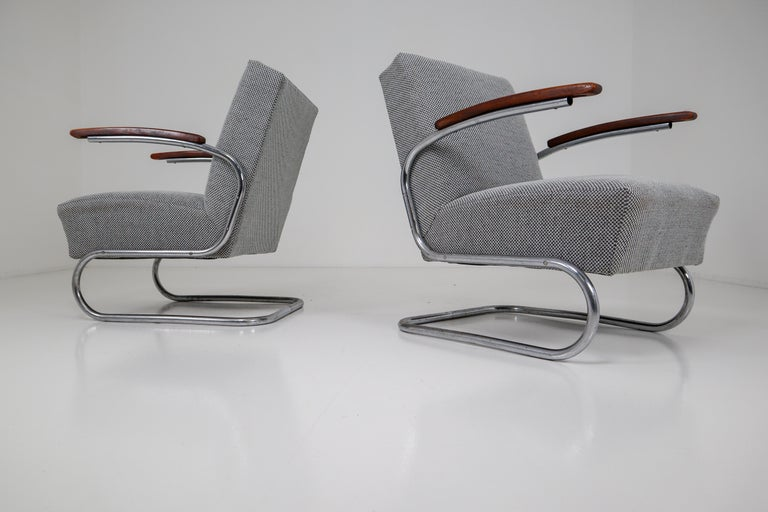 Chrome Steel Armchair by Thonet circa 1930s Midcentury Bauhaus Period For Sale 8