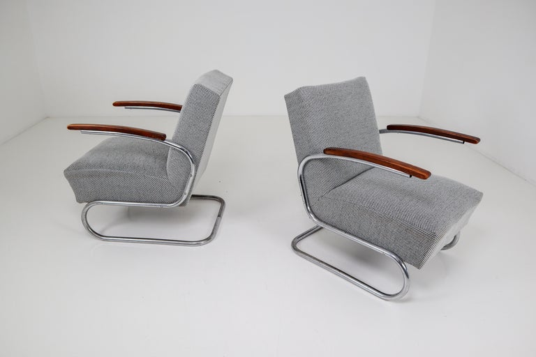Chrome Steel Armchair by Thonet circa 1930s Midcentury Bauhaus Period For Sale 9