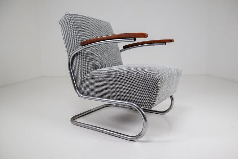 German Chrome Steel Armchair by Thonet circa 1930s Midcentury Bauhaus Period For Sale