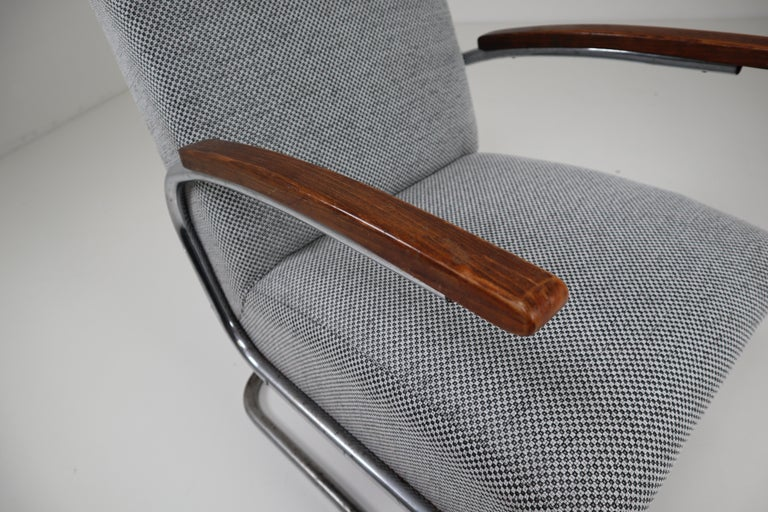 Chrome Steel Armchair by Thonet circa 1930s Midcentury Bauhaus Period For Sale 1