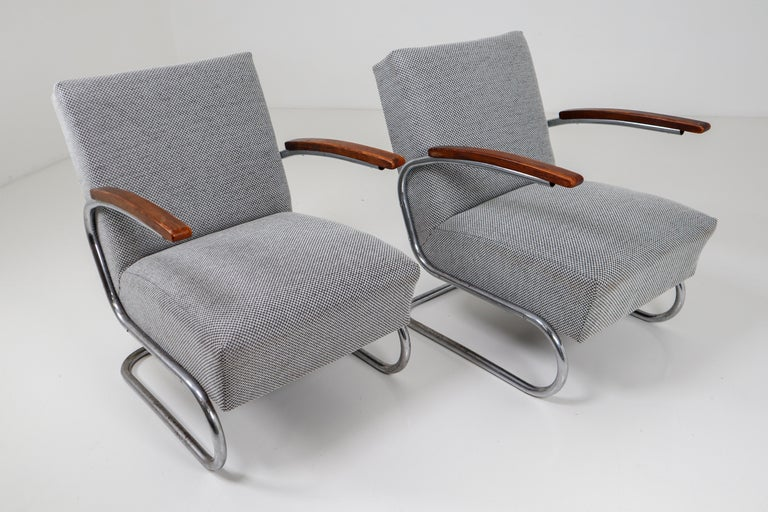 Chrome Steel Armchair by Thonet circa 1930s Midcentury Bauhaus Period For Sale 3