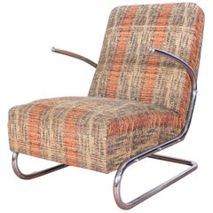 Midcentury Tubular Steel multicolor fabric Armchair  Thonet 1930s
