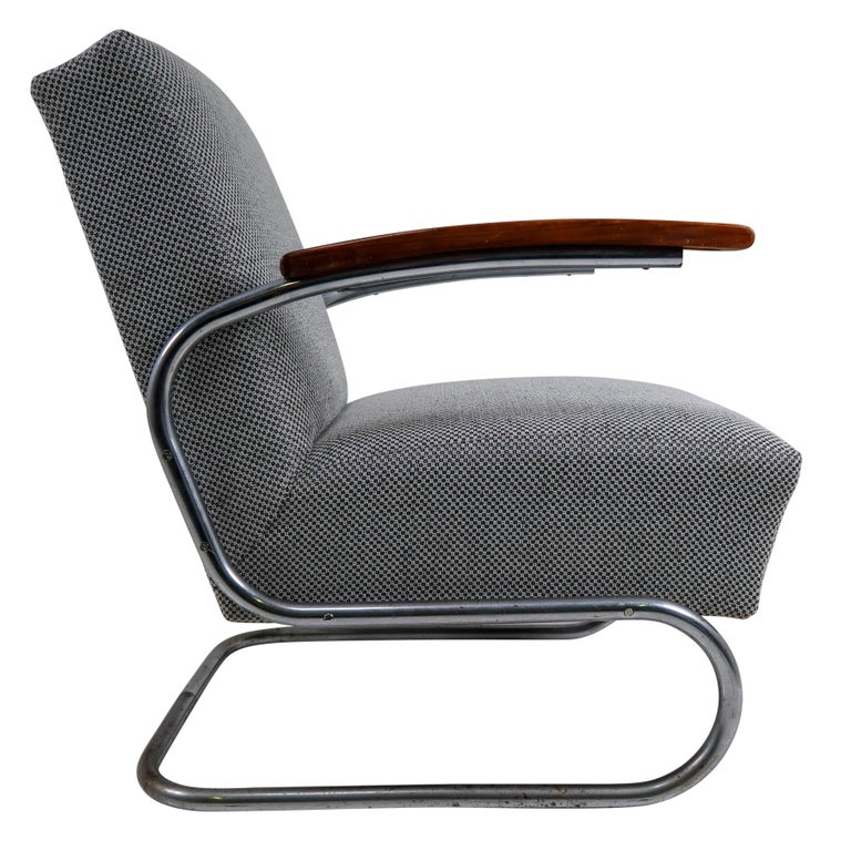 Chrome Steel Armchair by Thonet circa 1930s Midcentury Bauhaus Period For Sale