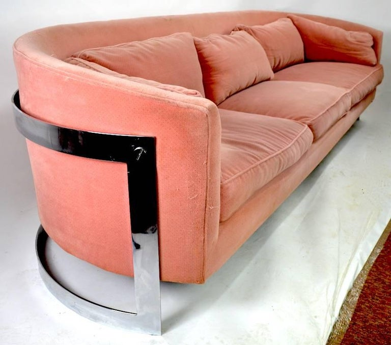 American Chrome Strap Sofa Attributed to Milo Baughman For Sale
