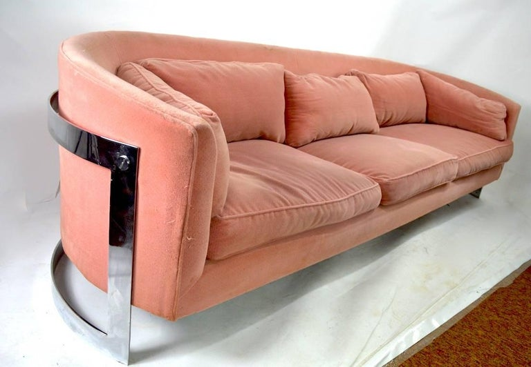 Chrome Strap Sofa Attributed to Milo Baughman For Sale 1