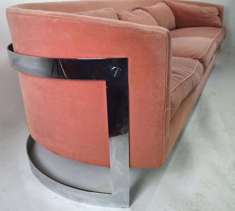 Chrome Strap Sofa Attributed to Milo Baughman For Sale 2