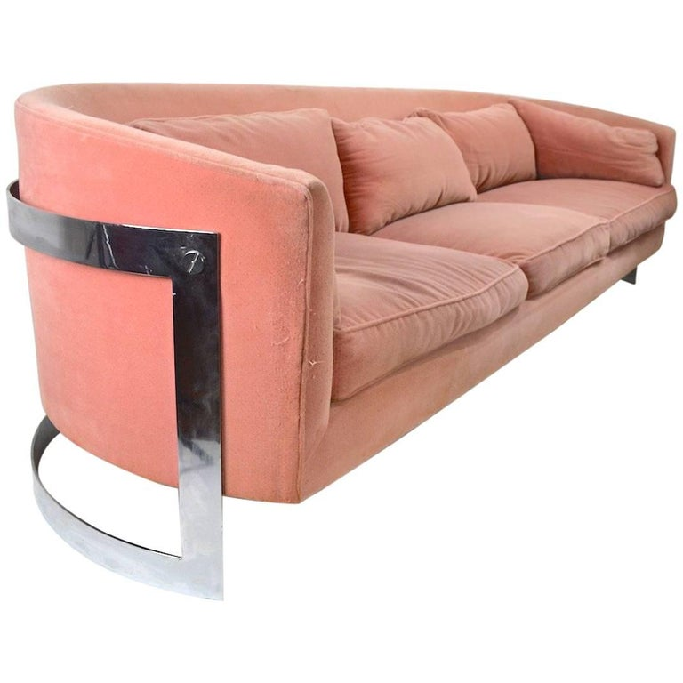 Chrome Strap Sofa Attributed to Milo Baughman For Sale