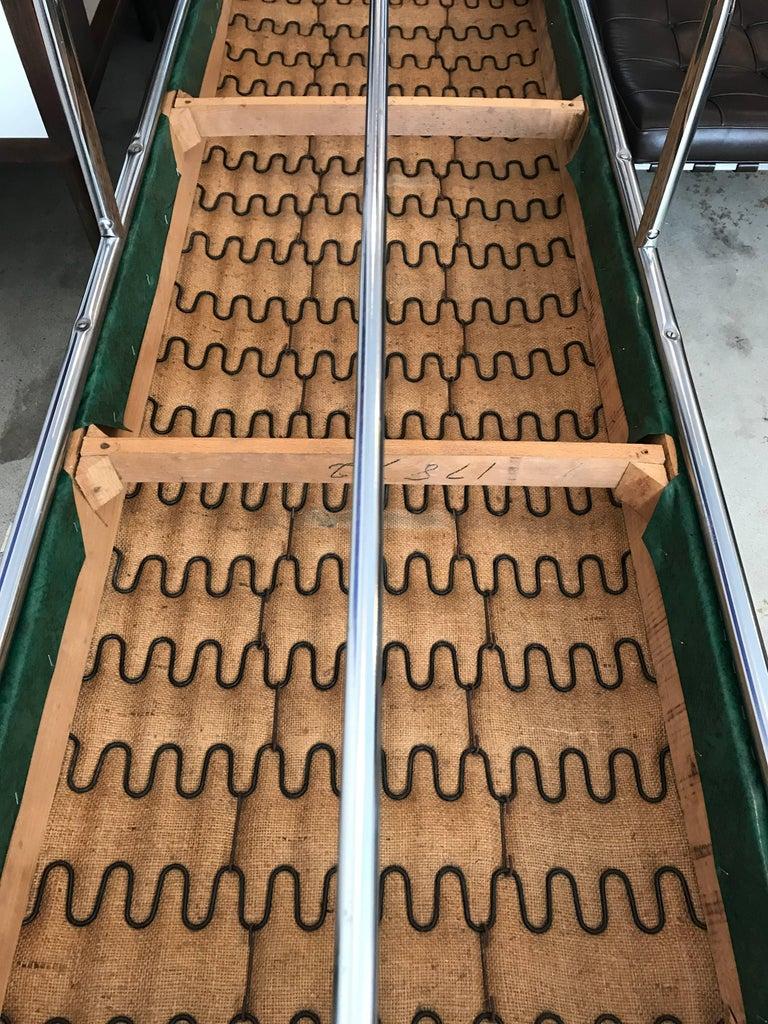 Faux Leather Chrome Streamline Modern Bench, Green Vinyl in the Style of KEM Weber, 1930's For Sale