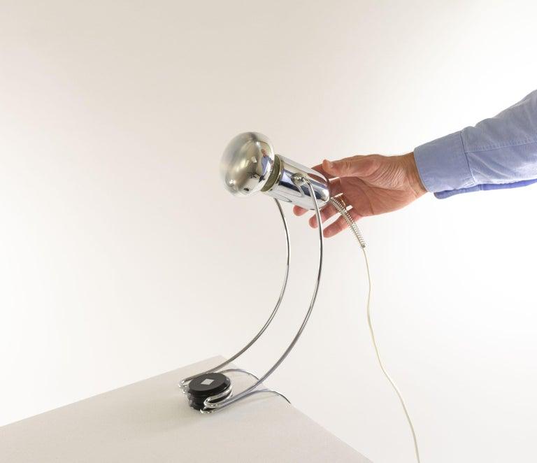 Mid-20th Century Chrome Table Lamp by Francesco Fois for Reggiani, 1960s For Sale