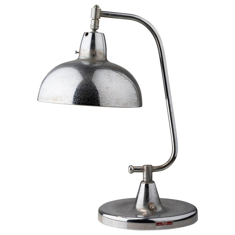 Chrome Table Lamp with Blue Glass Interior, America, circa 1950 For Sale
