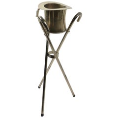 Chrome Top Hat Champagne, Ice Bucket on Cane Stand