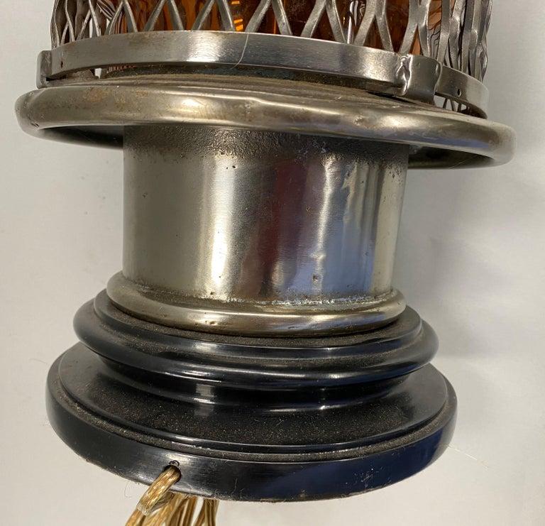 Chrome Top Nautical Ship's Lantern Converted Table Lamp, circa 1930s For Sale 5