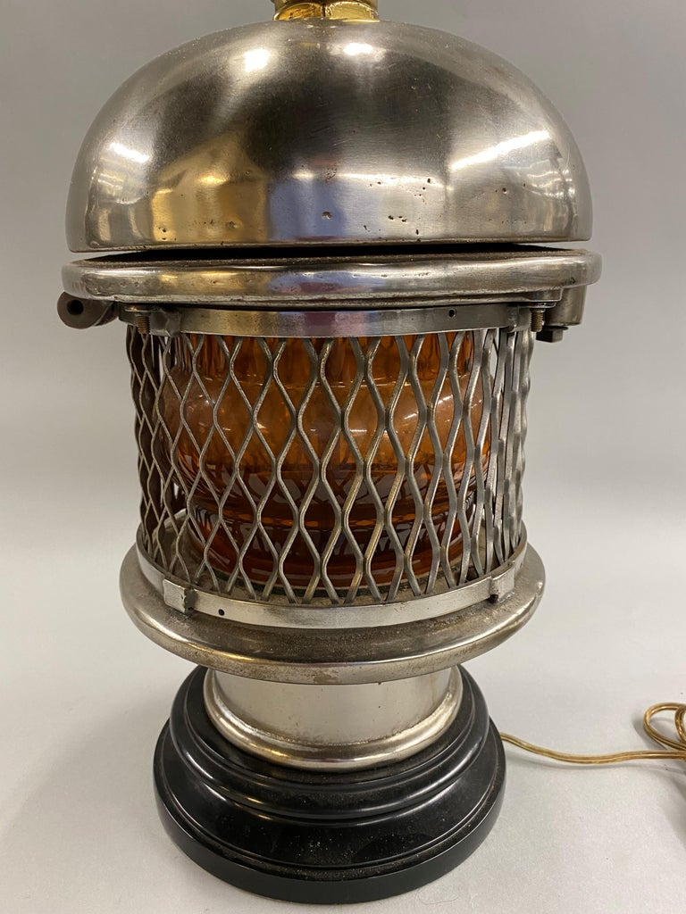 Cast Chrome Top Nautical Ship's Lantern Converted Table Lamp, circa 1930s For Sale