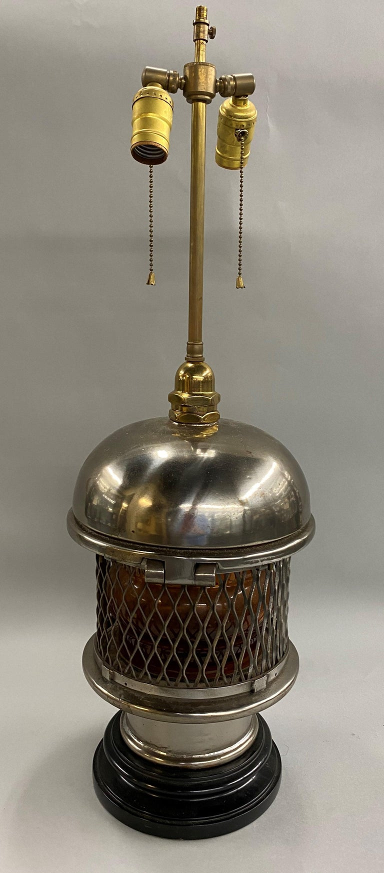 Chrome Top Nautical Ship's Lantern Converted Table Lamp, circa 1930s In Good Condition For Sale In Milford, NH
