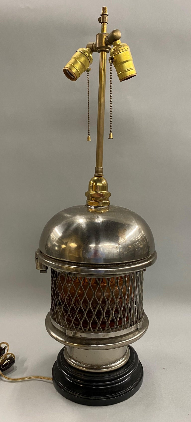 20th Century Chrome Top Nautical Ship's Lantern Converted Table Lamp, circa 1930s For Sale