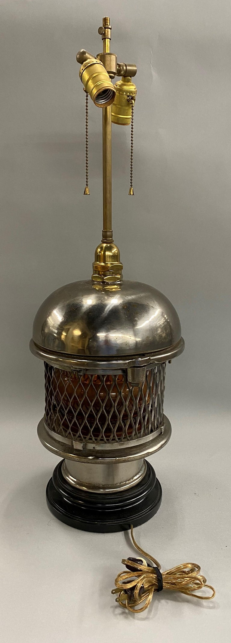 Glass Chrome Top Nautical Ship's Lantern Converted Table Lamp, circa 1930s For Sale