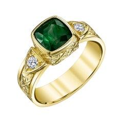 Chrome Tourmaline Cushion and Diamond Yellow Gold Bezel Set Engraved Signet Ring