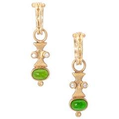 Chrome Tourmaline Drop Earrings with Diamonds in 18 Karat Gold