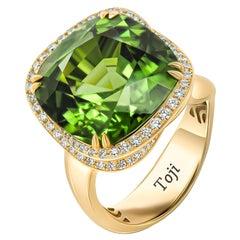 Chrome Tourmaline Ring, 18k Yellow Gold Chrome Tourmaline & Diamonds