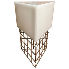 Chrome Triangle Cage Lamp with White Acrylic Shade