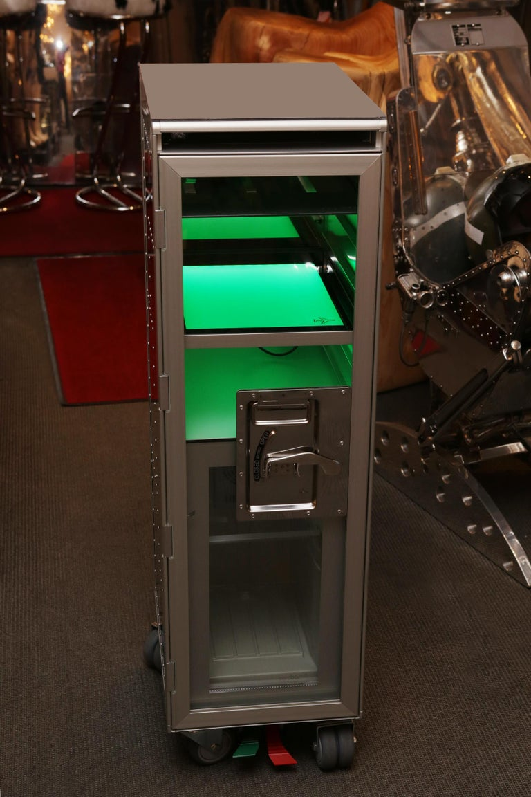 Chrome Trolley Aircraft with Fridge and Lighted Panel For Sale 4
