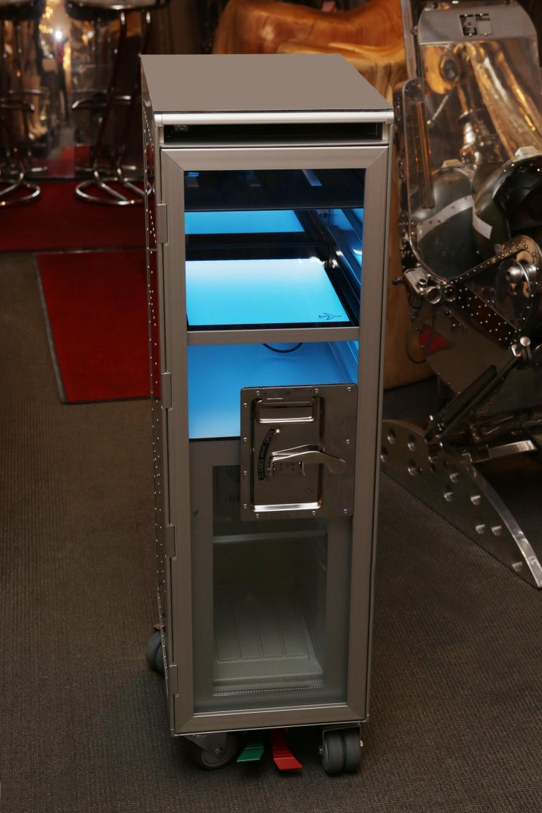 Chrome Trolley Aircraft with Fridge and Lighted Panel For Sale 5