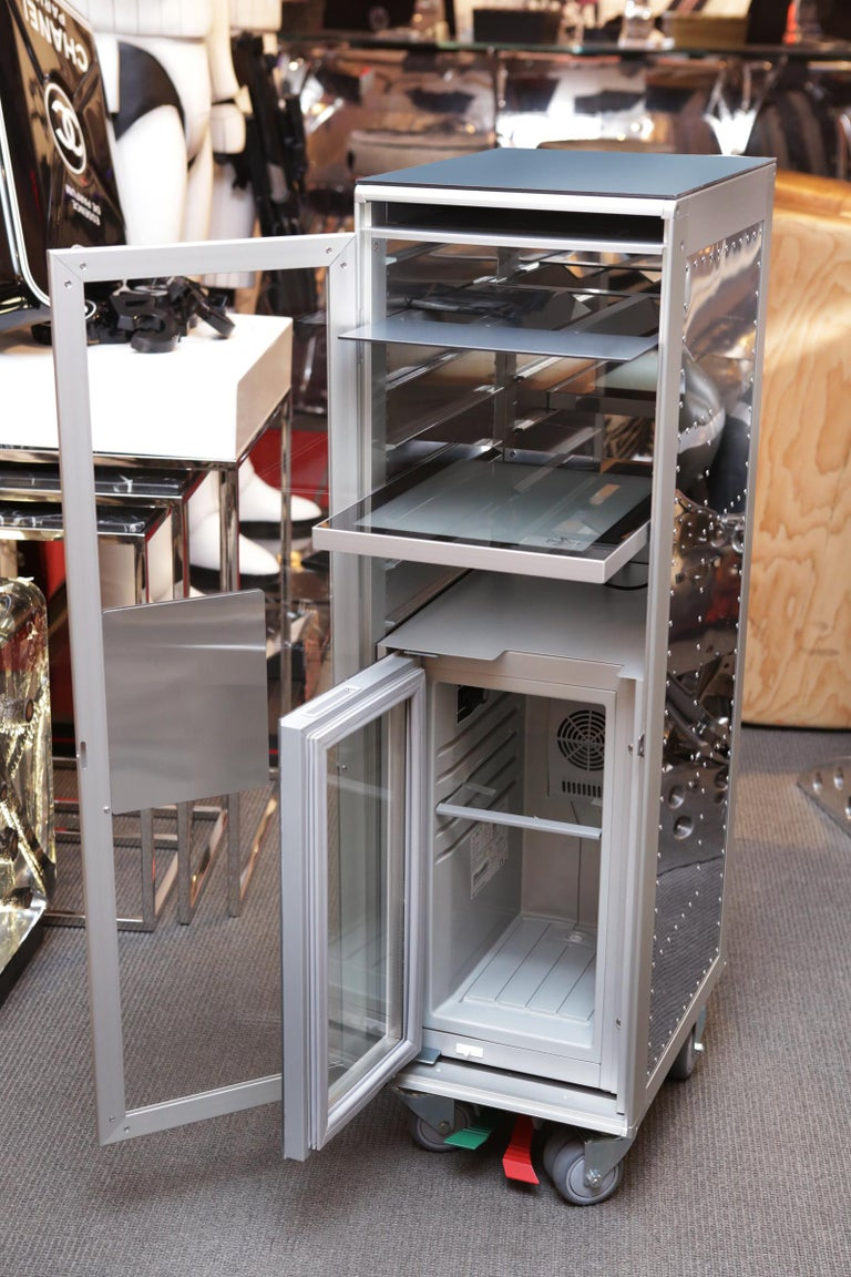 German Chrome Trolley Aircraft with Fridge and Lighted Panel For Sale