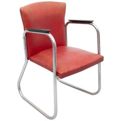 Chrome Tube Desk Chair Attributed Paul Schuitema, 1950s