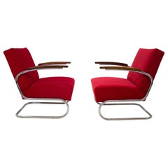 Chrome Tubular Armchairs Type S 411 by Mücke Melder, Upholstery Color on Demand
