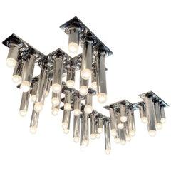 Chrome Tubular Ceiling Light Fixture by Rolf Krüger for Staff, Germany, 1970's