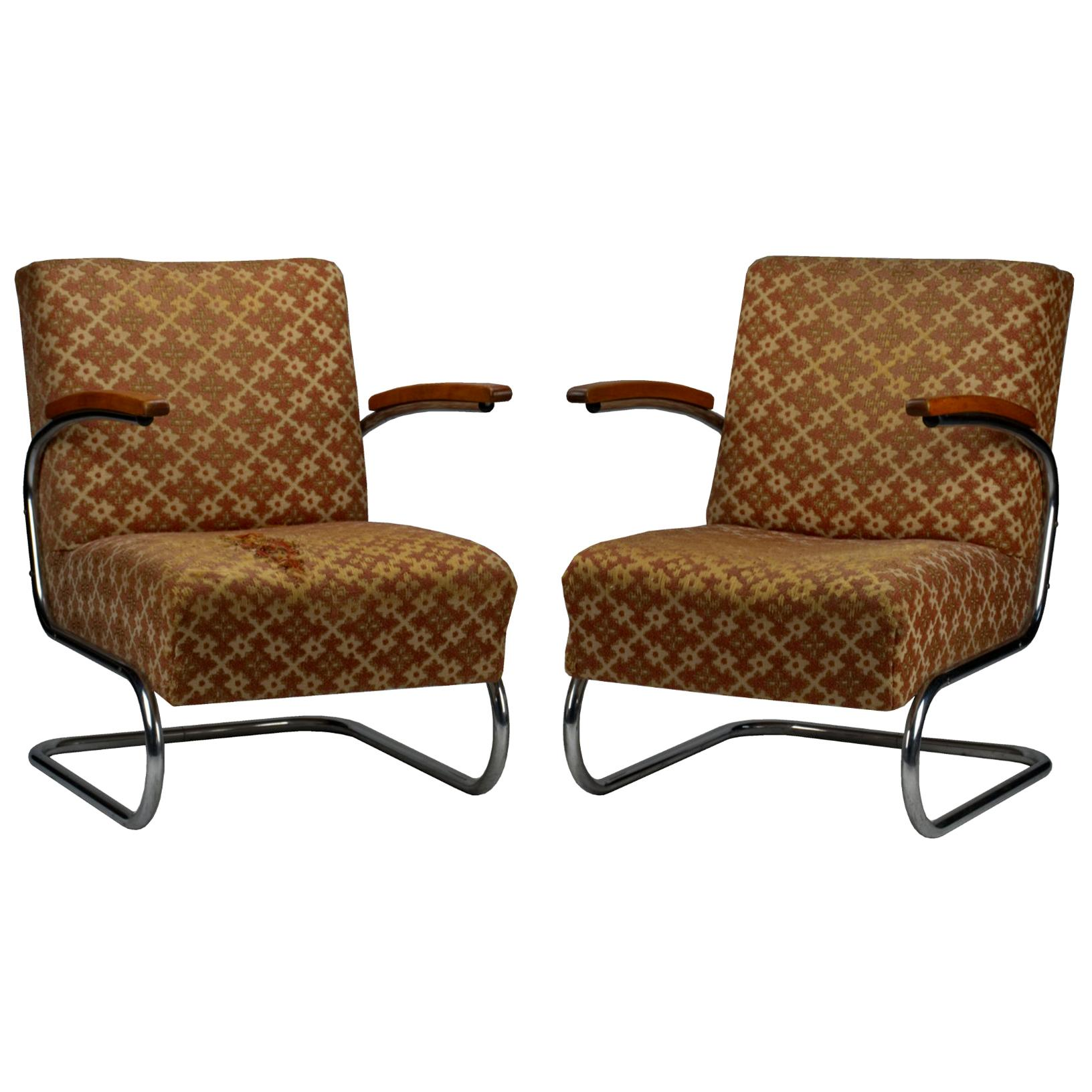 Chrome Tubular Steel Cantilever Armchairs S 411 by Thonet, circa 1930