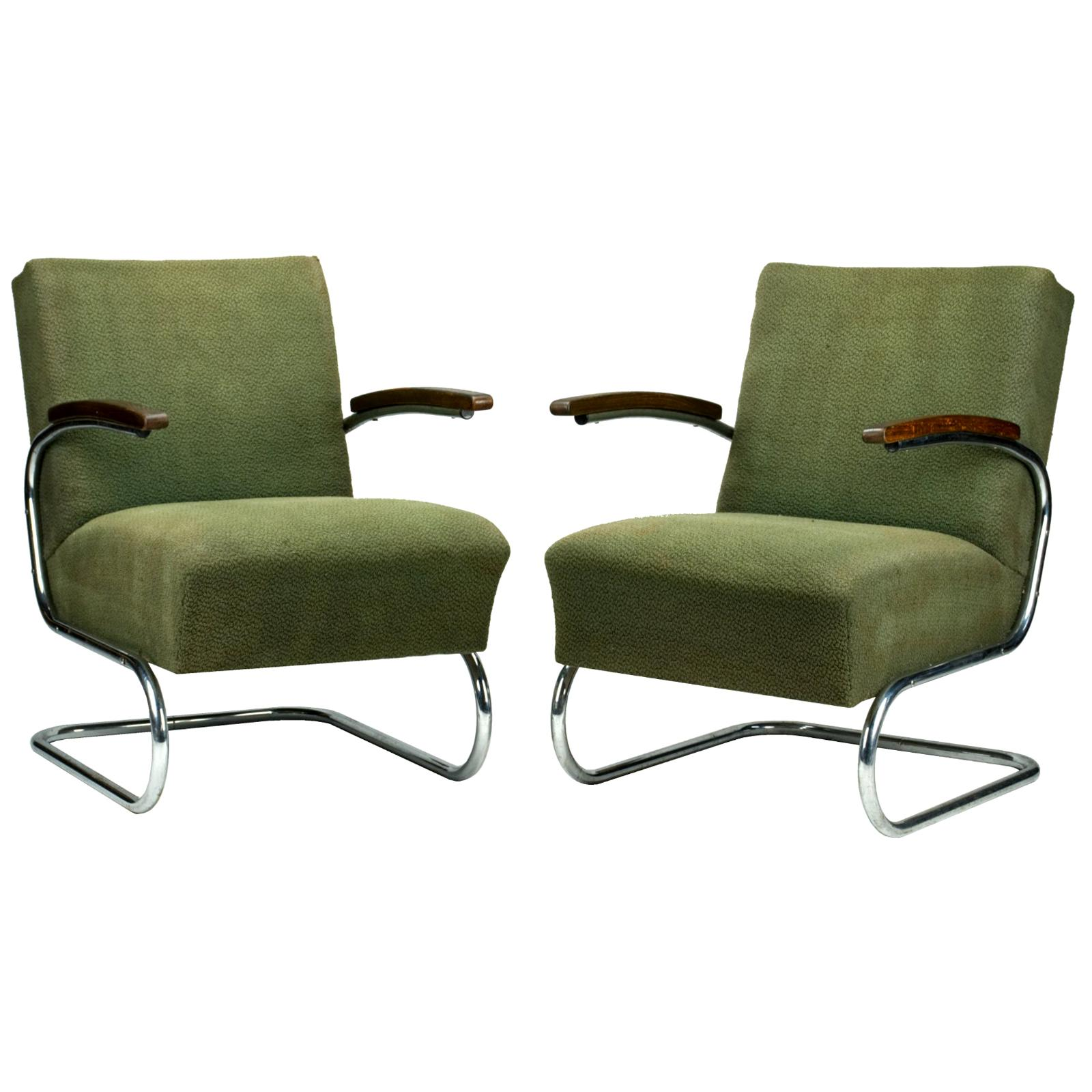 Chrome Tubular Steel Cantilever Armchairs S411 by Thonet, circa 1930