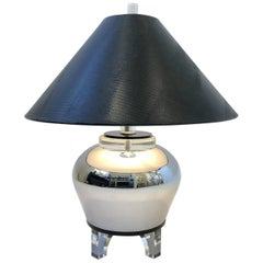 Chrome Urn and Lucite Table Lamp