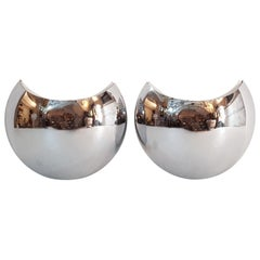 """Chrome Wall Sconces """"Half Moon"""" Made in Italy"""