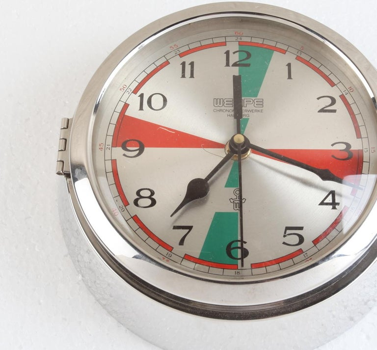 Industrial Chrome Wempe Analog Clock from Ship's Radio Room, German, 1970s For Sale