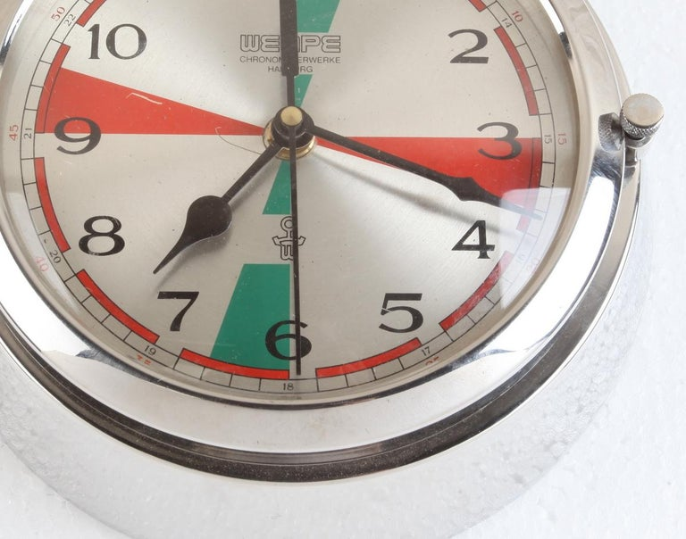 Chrome Wempe Analog Clock from Ship's Radio Room, German, 1970s In Good Condition For Sale In Nantucket, MA