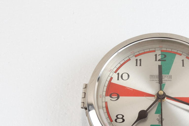 20th Century Chrome Wempe Analog Clock from Ship's Radio Room, German, 1970s For Sale