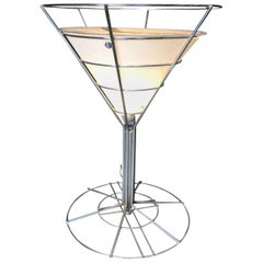 Chrome Wire Art Light Up Martini Lounge Side Table with Glass Top