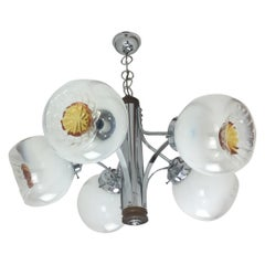 Iconic Midcentury Murano Mazzega Handblown Glass and Chrome Chandelier