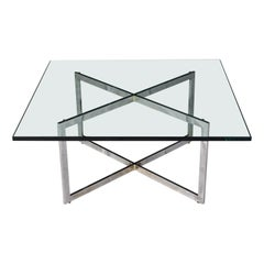 Chrome X-Base Coffee Table with Glass Top in the Style of Milo Baughman