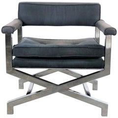 Chrome X-Base Director Style Lounge Chair Style of Milo Baughman
