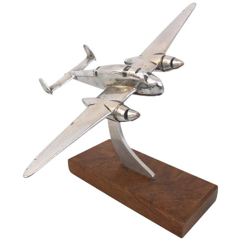 Chromed Air Plane Desk Model, Original Art Deco, France, 1930s For Sale