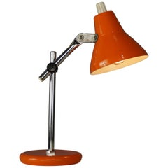 Chromed and Orange Metal Articulated Little Lamp