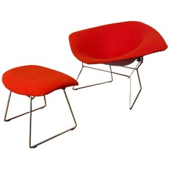 Chromed and Red Harry Bertoia Diamond Chair and Ottoman for Knoll