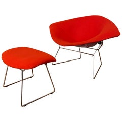 Chromed and Red Harry Bertoia Large Diamond Chair and Ottoman for Knoll