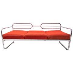 Chromed Bauhaus Sofa, Attribute to Slezák Company, Czechoslovakia, 1930s