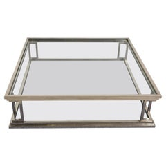 Chromed Brass Square Two Levels Italian Coffee Table with Glass Tops, 1970s