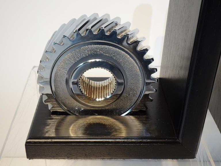 Chromed Industrial Gear / Wood Bookends For Sale 4
