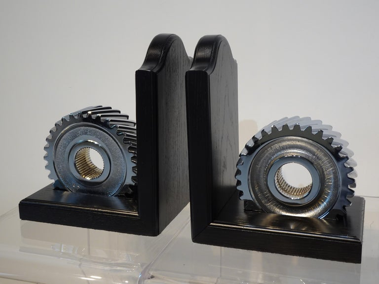 American Chromed Industrial Gear / Wood Bookends For Sale