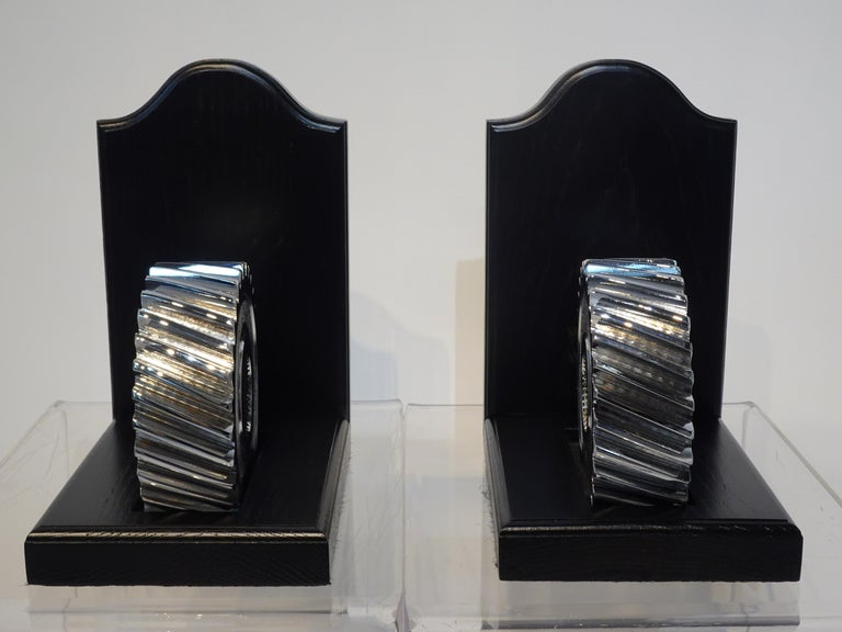 Chromed Industrial Gear / Wood Bookends In Good Condition For Sale In Cincinnati, OH